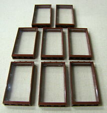 LEGO 8 REDDISH BROWN WINDOW FRAMES W/ CLEAR GLASS TOWN CITY BUILDING HOUSES