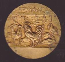 French Art Deco Nouveau Bonze Farming Poultry Medal Chickens Geese Duck