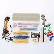 Basic Electronic Component Kit Breadboard Resistors LED Power Supply Module AT9F