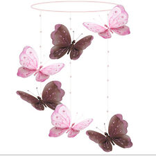 Butterfly Mobile Brown Pink Shimmer Spiral Hanging Butterflies Baby Girl Nursery