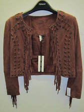 TOPSHOP Suede Leather Fringed Crop Jacket in Wine UK 6 EUR 34 US 2 RRP £140 BNWT