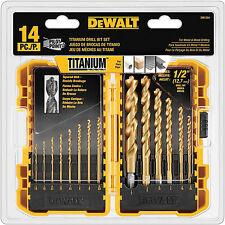 DEWALT 14-Piece Titanium Drill Bit Set from 1/6 to 1/2 inch Metal Wood Plastic