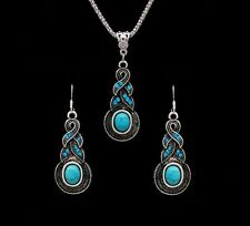 Silver Plated Tibetan CZ Crystal Turqouise Chain Pendant Necklace & Earrings Set