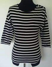 Women's Sessun Koant Pullover Striped Black & White Knit Top 3/4 Sleeve Sz Small