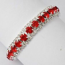 White Gold Filled Silver Plated Rhinestone Red Ruby Tennis charms bracelet