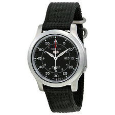 Seiko 5 Black Dial Black Canvas Mens Watch SNK809