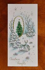 Vintage UNUSED Christmas Card SILVERED DIE-CUT EMBOSSED DEER Mid-Century