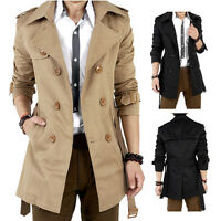 Stylish Mens Winter Double Breasted Trench Coat Long Jacket Overcoat Outwear