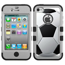 Hybrid 3-Layer Case for Apple iPhone 4 4S (Grey/Black) - Soccer Pattern