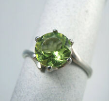 PERIDOT - Genuine Lime-green .925 Sterling Silver Solitaire Ring 1.14ct