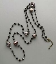 Long French Jet glass wedding cake necklace . crystal bead flapper black jewelry