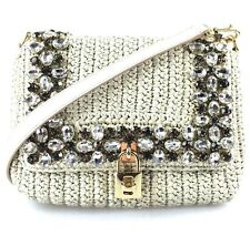 DOLCE & GABBANA HANDBAG - Crystal Embellished Rafia Shoulder Bag - Gorgeous
