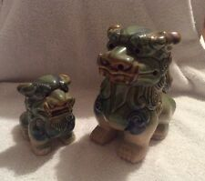 TWO VINTAGE CHINESE POTTERY FOO DOG FIGURES