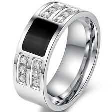 8MM Stainless Steel Ring Eternity Propose Promise Statement Engagement Cocktail