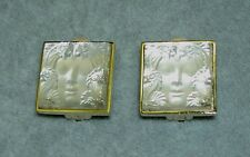 LALIQUE France Masque de Femme Crystal Goldtone Clip on Earrings in Box