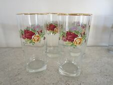 "4 Royal Albert Old Country Roses Set 4 High Ball Tumbler Glass 6¼"" Tall 16oz"