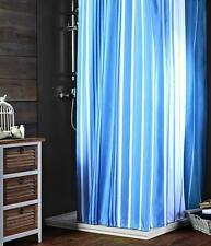 LUXURY FABRIC SHOWER CURTAIN, PRINTED STRIPED WHITE  & BLUE