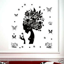 Butterflies & Girl Removable Wall Decal Black Wi White