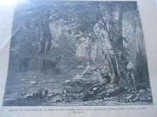 Gravure 1878 - Remise de Chevreuilles au ruisseau de Plaisirs Fontaine Doubs