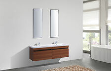 1600mm Double Vanity Teak Unit Twin Sink Wall Mounted Bathroom Furniture Taps