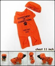 Dog Pet Fancy Prisoner Costume+Hat Short Sleeve Pyjamas Orange Clothes Size XS