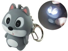 Grey Squirrel Key Chain Ring with LED Light and Animal Sound
