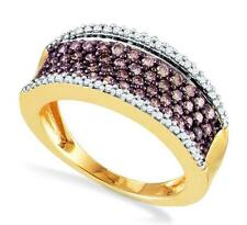 Great Design! 10K Yellow Gold Chocolate Brown & White Diamond Ring Band .79ct