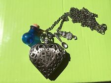 Steampunk Alice in Wonderland Heart Watch Necklace with Drink me, Alice & Spoon