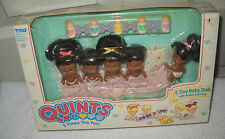 #9400 NRFB TYCO Quints 5 Tiny Baby Dolls African American with Bottles & Bunting