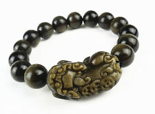 Natural Gold Obsidian Pi Xiu Dragon Beads Powerful Bracelet 12mm