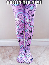 Rainbow Spooky Bats Tights Pink: Pastel Goth, Creepy Cute, Moons, Stars Size XL