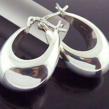 CYF51 GENUINE HALLMARKED REAL 925 STERLING SILVER ITALIAN HOOP DROP EARRINGS