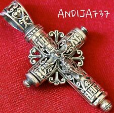 Rare Authentic Tube Shape Russian Orthodox Crucifix Silver 925 Save And Protect