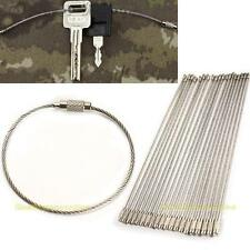 20PCS Stainless Steel Wire Keychain Cable Key Ring for Outdoor Hiking