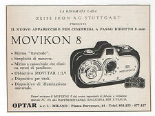 Pubblicità epoca 1956 MOVIKON 8 CAMERA ZEISS IKON advertising werbung publicitè