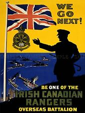 ADVERT WAR CANADA IRISH RANGERS ENLIST RECRUIT ARMY NAVY ART POSTER PRINT LV7176