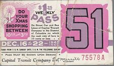 Trolly/Bus pass capital Transit Wash. DC--1945 christmas Shopping-----67A