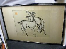 chinese woodblock print ? signed chop mark  woodblock deer ?
