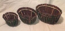 Set of 3 Oval Nesting Baskets, Natural Twig & Moss Look, Majestic Handicrafts