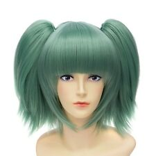 Green Womens Cosplay Party Anime Coser Hair Wigs Short Straight Wig + Ponytail
