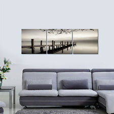 Canvas Print Painting Picture Photo Black White Landscape Bridge Lake Framed