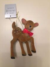 Gisela Graham Flock Acrylic Bambi Christmas Tree Hanging Decoration