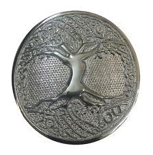 KILT BELT BUCKLE CELTIC TREE OF LIFE CIRCULAR SILVER FINISH/SCOTTISH BELT BUCKLE