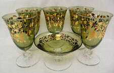 """SC Line Made in Italy 6 Green Gold Leaf Goblet Hand Blown Glass 5.5"""" Tall"""