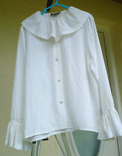 VTG MARCELLA SZ P M WHITE PIRATE poet BIG RUFFLED COLLAR PEASANT COSTUME BLOUSE