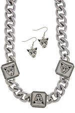 Trendy Emblem Chunky Chain Curb Link Necklace Earring Cat Set Love And Hip Hop