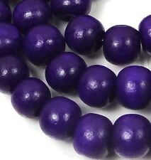 "10x8mm Purple Wood Rondelle Beads 16""  4mm hole"