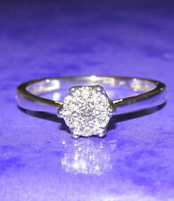 STUNNING SECONDHAND 9ct WHITE GOLD 0.20ct DIAMOND CLUSTER RING SIZE L