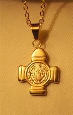 Handsome Small Gold Finish Stainless Steel Saint Benedict Cross Pendant Necklace