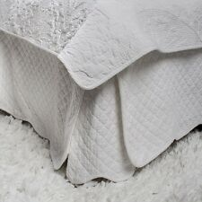 White Bed Valance Skirt King French Marcella Style Quilted New